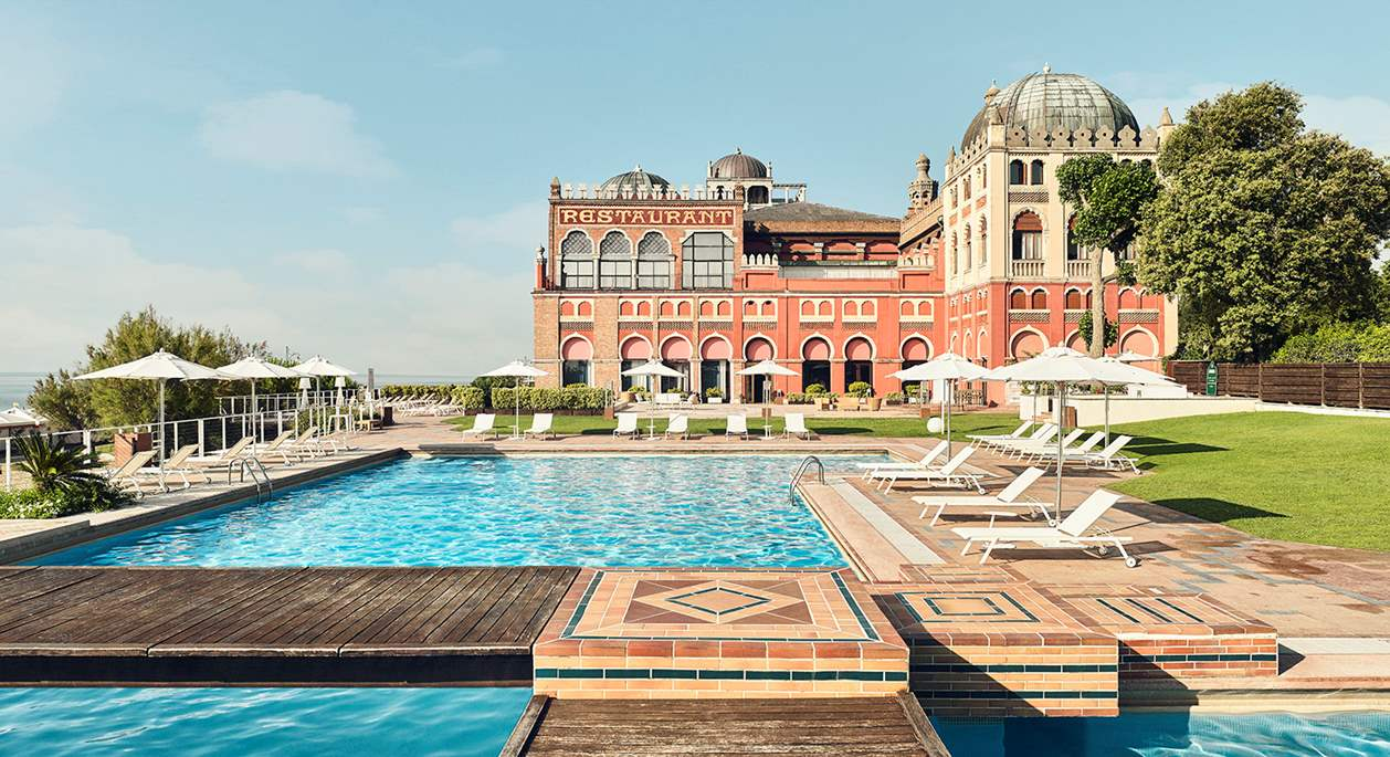 The outdoor pool of Hotel Excelsior Venice Lido, luxury hotel in Venice, Italy